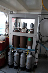 Gas cylinders on MV Windward at Bikini Atoll