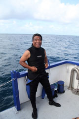 Dive master Edward Maddison (Bikini Islander) getting ready at Bikini Atoll