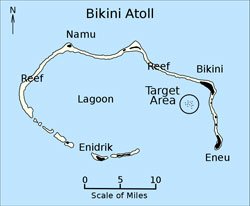 Map of Bikini Atoll with location of Operation Crossroads nuclear bomb tests.