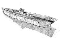 Diver's sketch of aircraft carrier USS Saratoga (CV-3) on the bottom of Bikini Atoll lagoon.