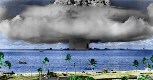 Test Baker underwater atomic bomb blast at Bikini Atoll