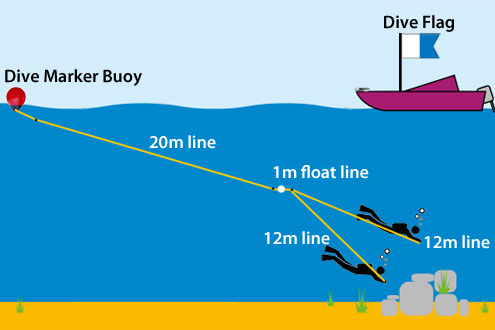 Dive Buoy Lines and Boat Dive Flag