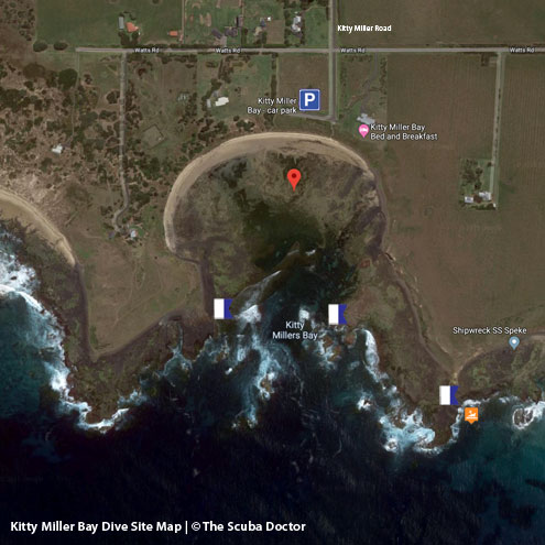 Kitty Miller Bay Dive Site Map