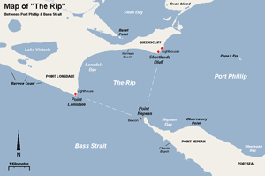 A map of The Rip and surrounding features