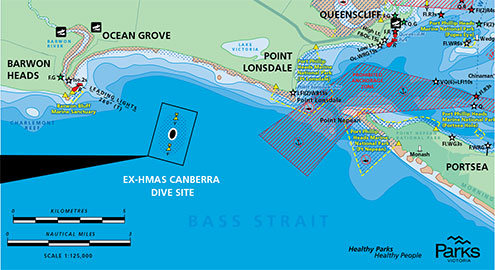 Parks Victoria ex HMAS Canberra Dive Site Location Map
