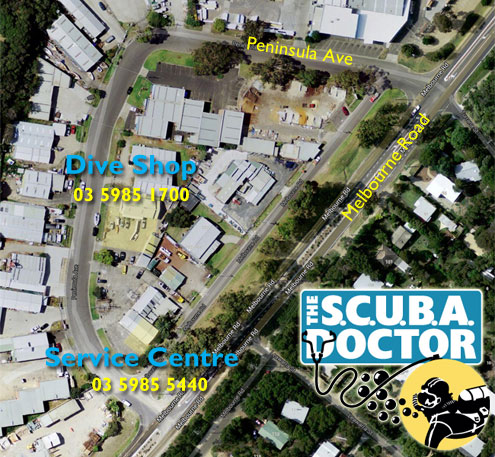 The Scuba Doctor location map