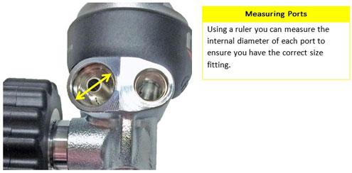 Measuring scuba regulator port size