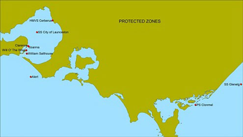 Shipwreck protected zones map