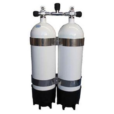 Faber Twin Steel Cylinders with Manifold - 232 bar - 12.2 litre