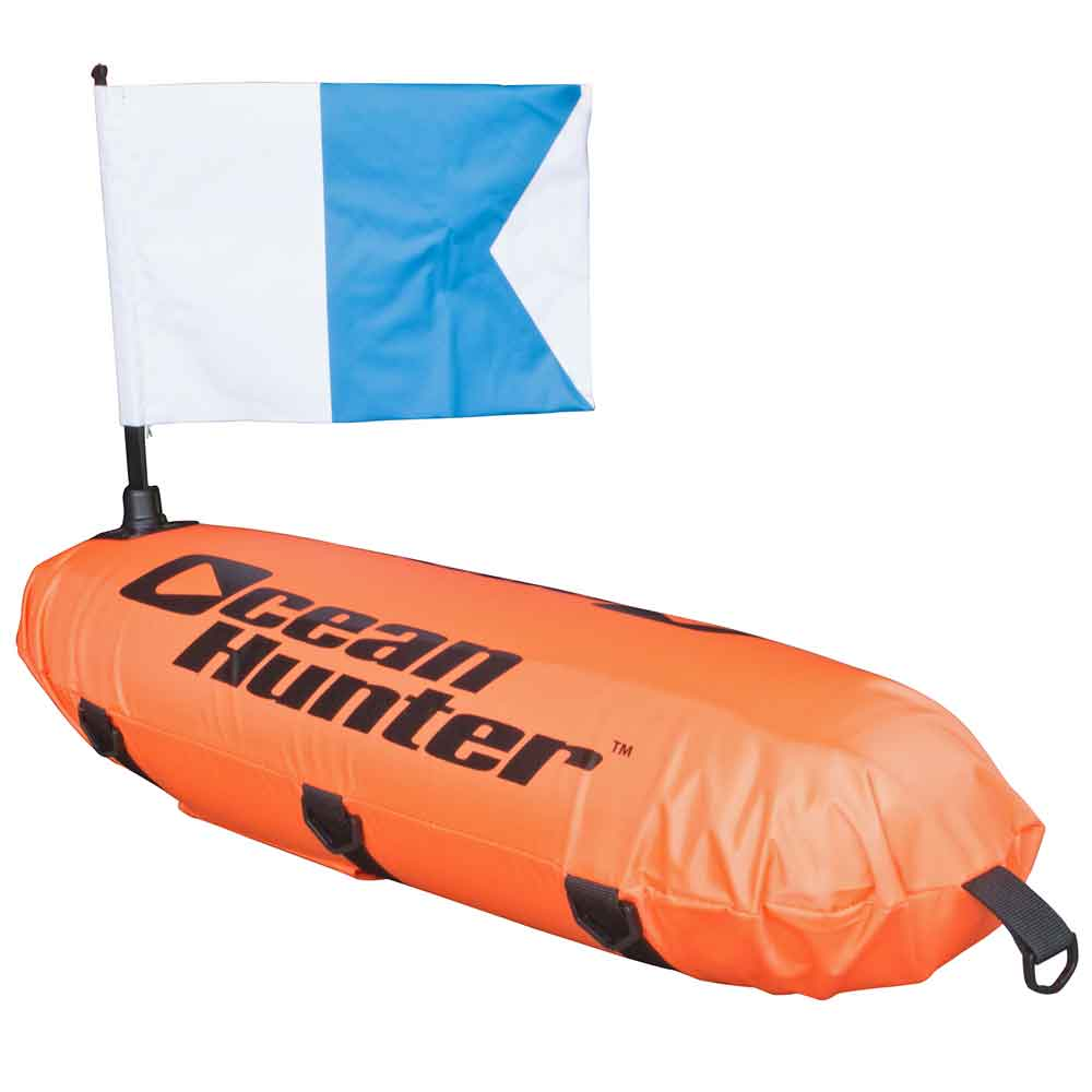 Ocean Hunter Inflatable Torpedo Float with Line and Alpha Flag